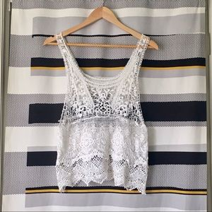 🟠 2/$20 Boho Lace and Crochet Tank Top - White